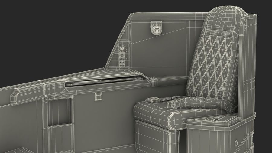 Airplane Business Class Seats Set royalty-free 3d model - Preview no. 39