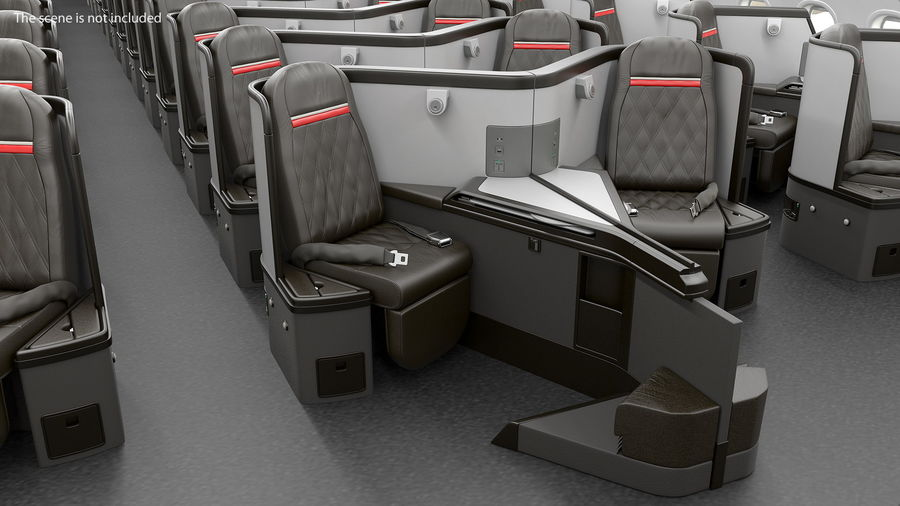 Airplane Business Class Seats Set royalty-free 3d model - Preview no. 3