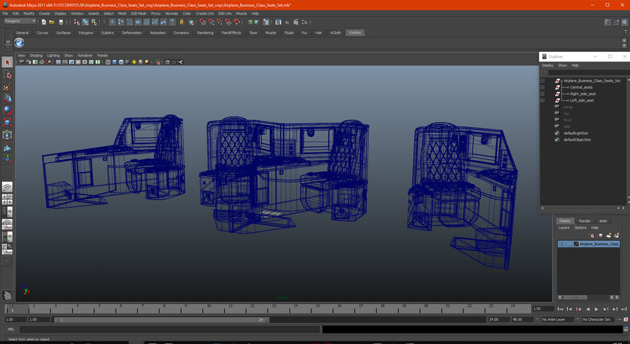 Airplane Business Class Seats Set royalty-free 3d model - Preview no. 34