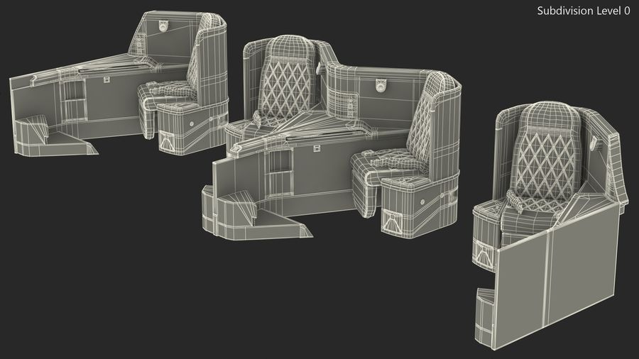 Airplane Business Class Seats Set royalty-free 3d model - Preview no. 29
