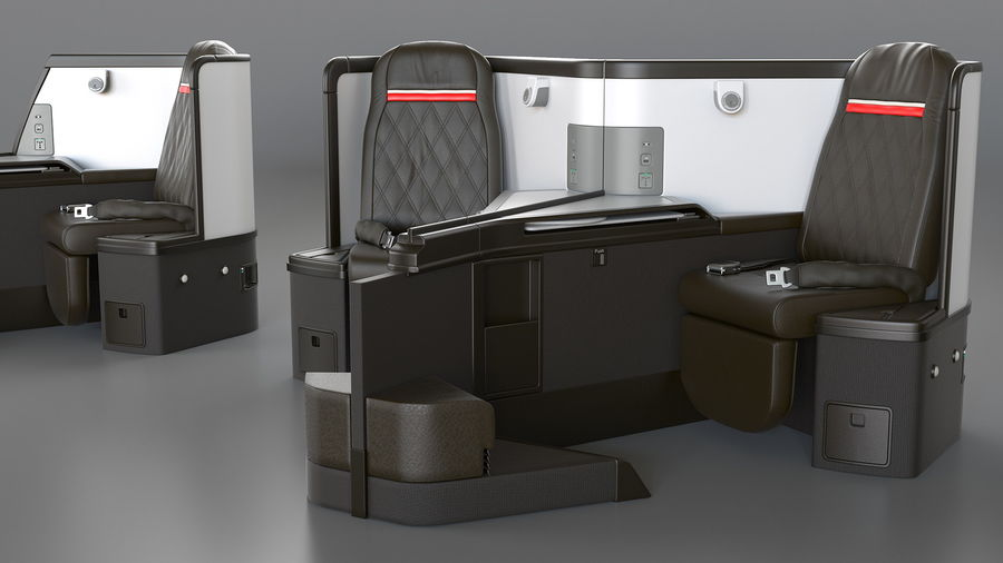 Airplane Business Class Seats Set royalty-free 3d model - Preview no. 20