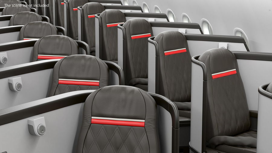 Airplane Business Class Seats Set royalty-free 3d model - Preview no. 15