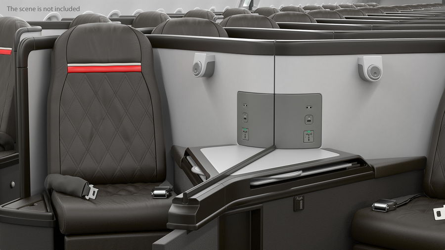 Airplane Business Class Seats Set royalty-free 3d model - Preview no. 16
