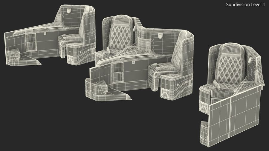 Airplane Business Class Seats Set royalty-free 3d model - Preview no. 30