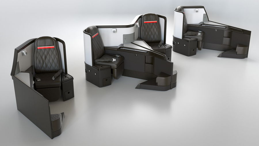 Airplane Business Class Seats Set royalty-free 3d model - Preview no. 2