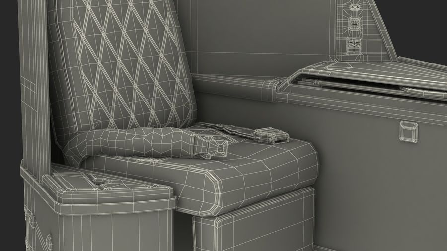 Airplane Business Class Seats Set royalty-free 3d model - Preview no. 40