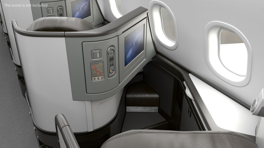 Airplane Business Class Seats Set royalty-free 3d model - Preview no. 7