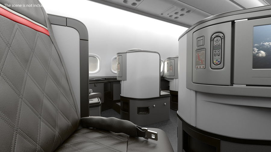 Airplane Business Class Seats Set royalty-free 3d model - Preview no. 13