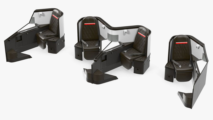 Airplane Business Class Seats Set royalty-free 3d model - Preview no. 27
