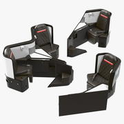 Airplane Business Class Seats Set 3d model