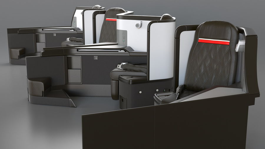 Airplane Business Class Seats Set royalty-free 3d model - Preview no. 21