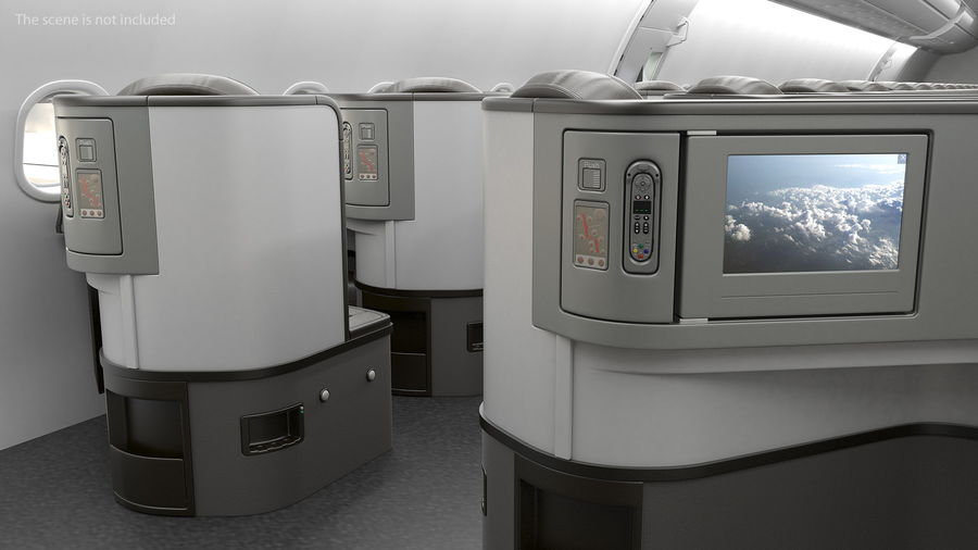 Airplane Business Class Seats Set royalty-free 3d model - Preview no. 8