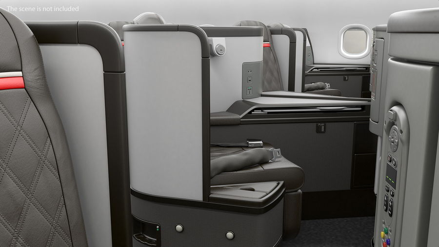 Airplane Business Class Seats Set royalty-free 3d model - Preview no. 6