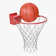 Animated Basketball Ball Flies into Ring 3d model