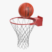 Animated Spalding Basketball Ball Flies into Ring 3d model