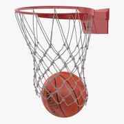 Animated Spalding Basketball Falls Through Hoop 3d model