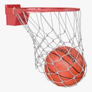 Basket-ball animé Spalding tombe à travers le filet 3d model