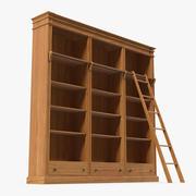 Деревянный книжный шкаф с лестницей 3d model