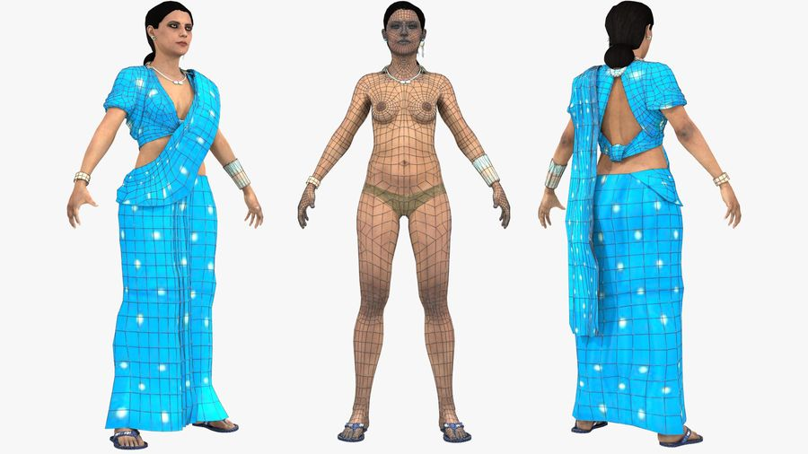 Indian Women royalty-free 3d model - Preview no. 15