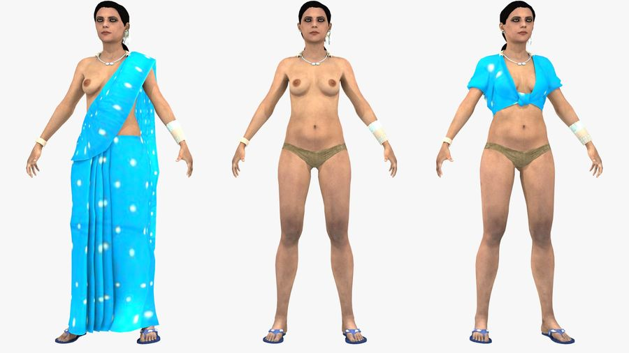 Indian Women royalty-free 3d model - Preview no. 8