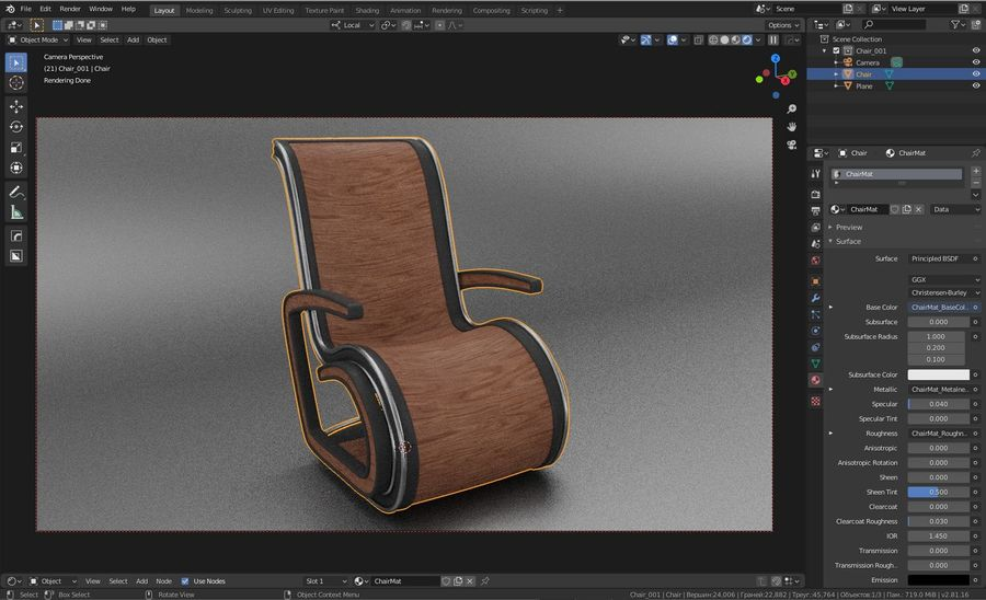 Chair_001 royalty-free 3d model - Preview no. 9