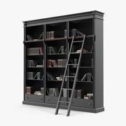 Черный Книжный шкаф с открытой библиотекой 3d model