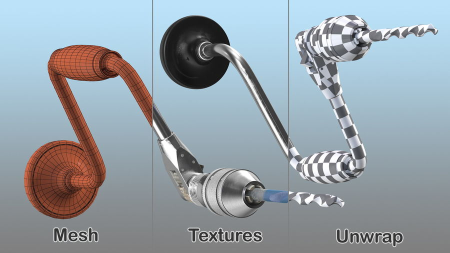 Hand Brace Drill Generic royalty-free 3d model - Preview no. 17