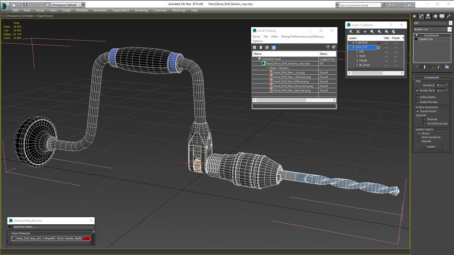 Hand Brace Drill Generic royalty-free 3d model - Preview no. 24