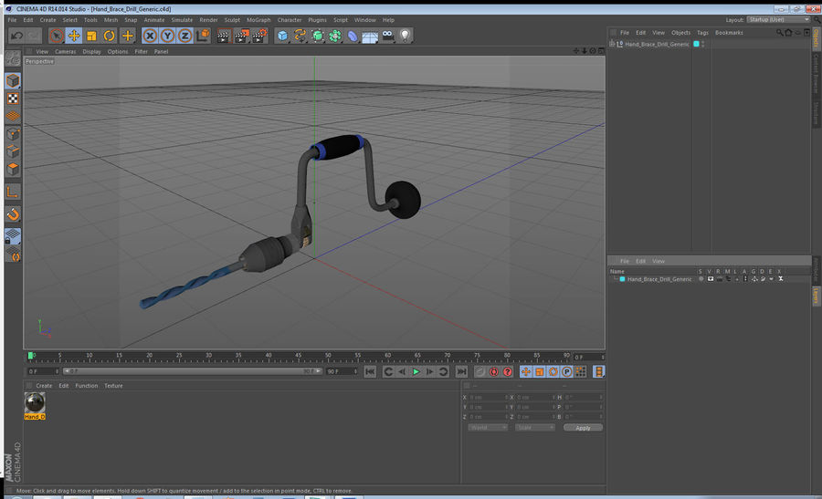 Hand Brace Drill Generic royalty-free 3d model - Preview no. 23