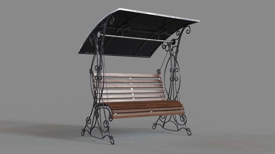 Bench Swing royalty-free 3d model - Preview no. 9