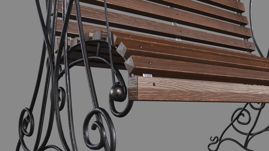 Bench Swing royalty-free 3d model - Preview no. 6