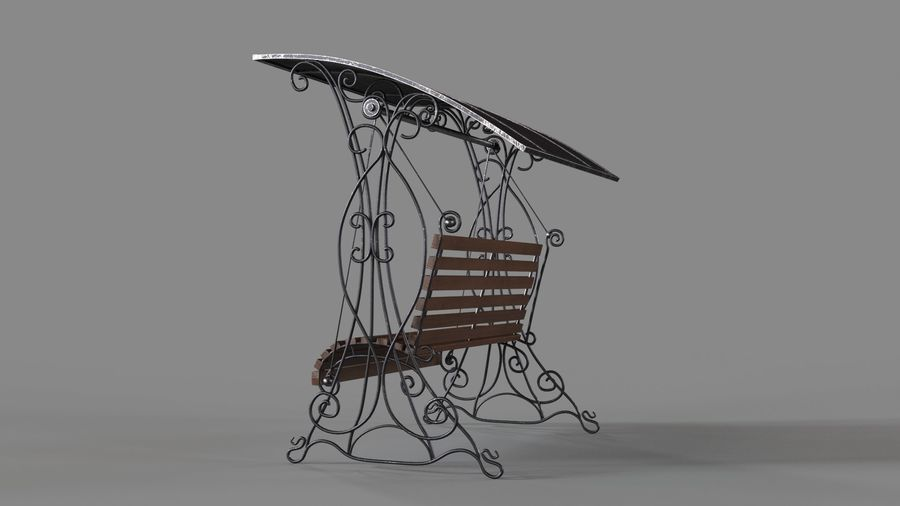 Bench Swing royalty-free 3d model - Preview no. 3