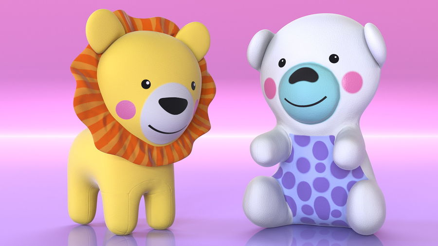 Baby Plastic Animal Toys royalty-free 3d model - Preview no. 8