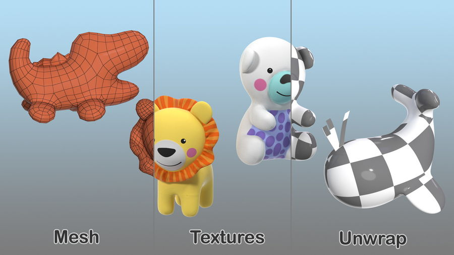 Baby Plastic Animal Toys royalty-free 3d model - Preview no. 15