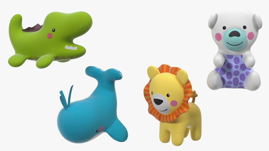 Baby Plastic Animal Toys royalty-free 3d model - Preview no. 10