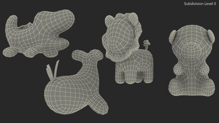 Baby Plastic Animal Toys royalty-free 3d model - Preview no. 16