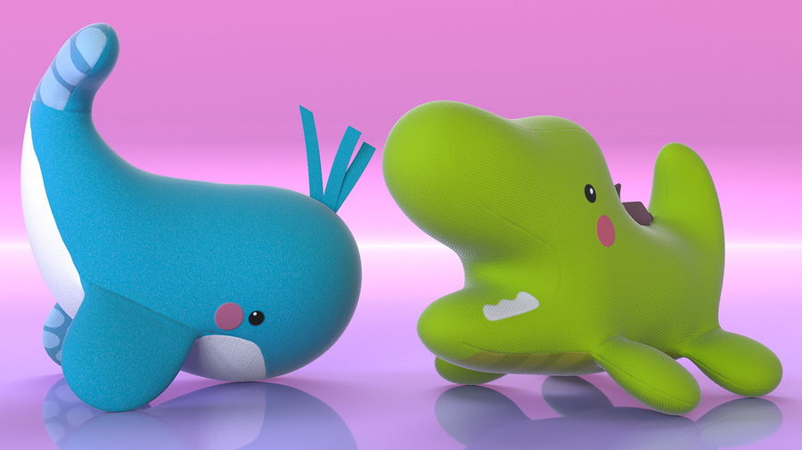 Baby Plastic Animal Toys royalty-free 3d model - Preview no. 9