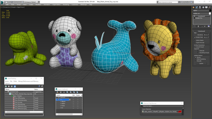 Baby Plastic Animal Toys royalty-free 3d model - Preview no. 1