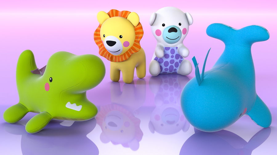 Baby Plastic Animal Toys royalty-free 3d model - Preview no. 2