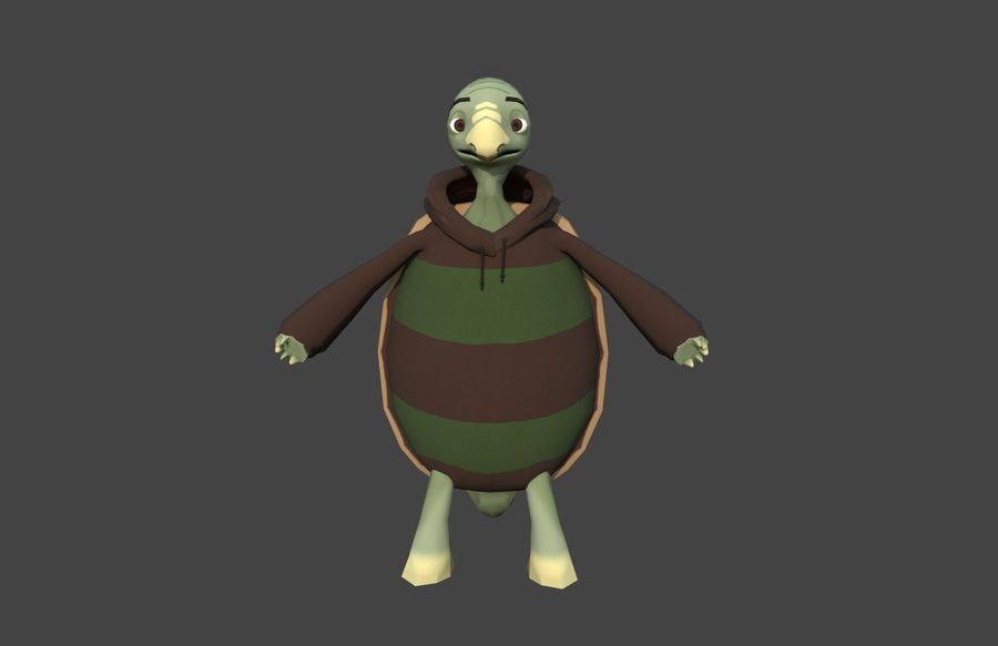 3D Cartoon Turtle royalty-free 3d model - Preview no. 2