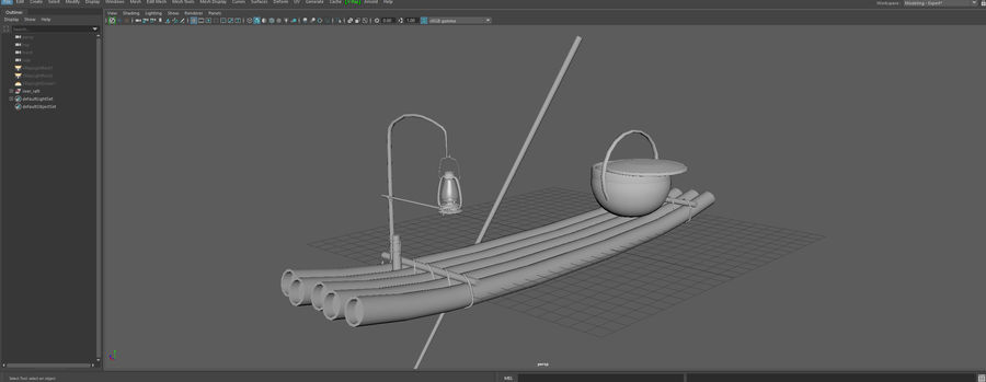 Fishing raft royalty-free 3d model - Preview no. 9