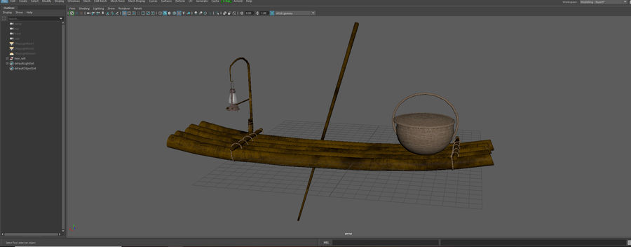 Fishing raft royalty-free 3d model - Preview no. 10
