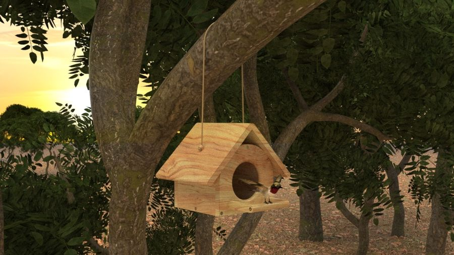 Bird Box royalty-free 3d model - Preview no. 2