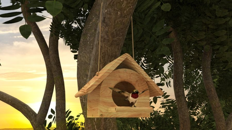 Bird Box royalty-free 3d model - Preview no. 3