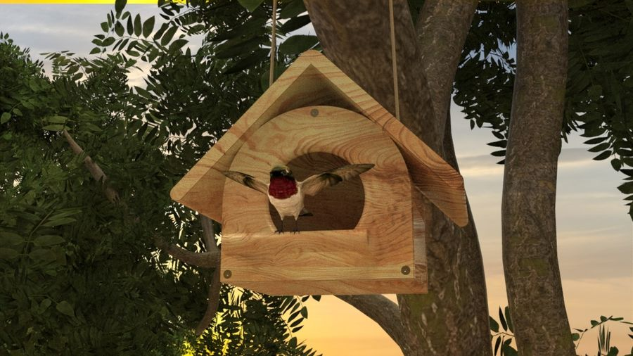 Bird Box royalty-free 3d model - Preview no. 5