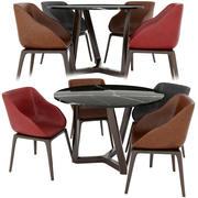 Okrągły stół i krzesło Poliform 3d model