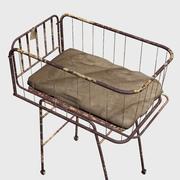 Vintage Yıpranmış Hastane Bebek Yatağı 3d model