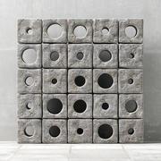 Panel  stone cube hole n3 3d model
