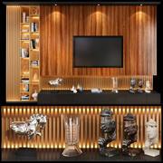 TV-väggenheter set 01 3d model