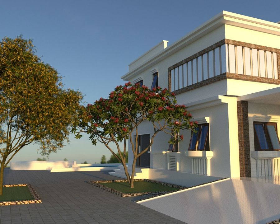 Classic House Exterior Design Sketchup royalty-free 3d model - Preview no. 2